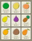 Reeks etiketten met organische vruchten, vector Royalty-vrije Stock Fotografie