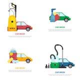 Reeks etiketten op autowasserettethema in vlakke stijl stock illustratie
