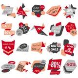 Reeks Etiketten van de Verkoopkorting, Markeringen, Emblemen Webinzameling van stickers en kentekens voor verkoop Royalty-vrije Stock Afbeeldingen