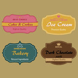 Reeks etiketten voor cakes, koekjes, roomijs Stock Afbeeldingen