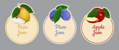 Reeks etiketten voor fruitjam Stock Foto
