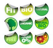 Reeks etiketten voor organisch Stock Afbeelding