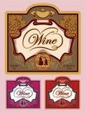 Reeks etiketten voor verschillende soorten wijn Royalty-vrije Stock Foto