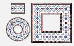 Reeks Etnische borstels van het ornamentpatroon Stock Foto