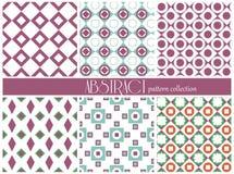 Reeks etnische naadloze patronen Azteekse geometrische achtergrond De hand getrokken stof van Navajo Modern abstract behang Stock Foto