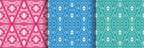 Reeks etnische naadloze patronen met geometrisch ornament royalty-vrije illustratie