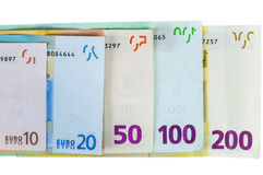Reeks euro bankbiljetten Royalty-vrije Stock Afbeelding