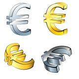 Reeks Euro geïsoleerde muntpictogrammen, Royalty-vrije Stock Foto's