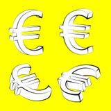 Reeks Euro muntpictogrammen op gele backgroun Royalty-vrije Stock Afbeelding