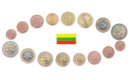 Reeks Euro Muntstukken van Litouwen Stock Afbeeldingen