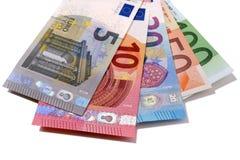 Reeks Euro op witte achtergrond wordt geïsoleerd die Royalty-vrije Stock Foto's