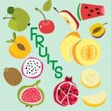 Reeks Europese en exotische vruchten, peer, kiwi, watermeloen, granaatappel, Apple, kers en anderen, vectorillustratie royalty-vrije illustratie