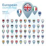 Reeks Europese vlaggen, vectorillustratie Royalty-vrije Stock Foto's