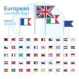 Reeks Europese vlaggen, vectorillustratie Stock Afbeeldingen
