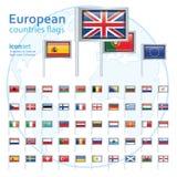 Reeks Europese vlaggen, vectorillustratie Royalty-vrije Stock Foto