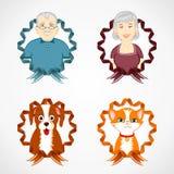 Reeks familie en huisdieren met kleurrijk lint Stock Afbeeldingen