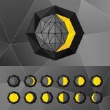 Reeks fasen van de maanpictogrammen in een driehoekige stijl Stock Foto's