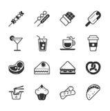 Reeks fastfood pictogrammen Stock Foto