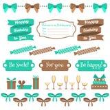 Reeks feestelijke elementen van de verjaardagspartij Vlak Ontwerp Stock Afbeelding