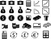 Reeks financiële pictogrammen Stock Foto's