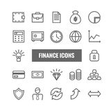 Reeks financiën en geld lineaire pictogrammen Dunne vectorpictogrammen voor mobiele apps, Web, drukontwerp Royalty-vrije Stock Fotografie
