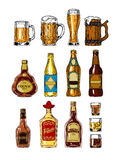 Reeks flessen en stemware met alcohol royalty-vrije illustratie