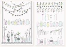 Reeks flessen, kruiken, slingers, lampen en vlaggen vector illustratie