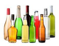 Reeks flessen met verschillende dranken royalty-vrije stock foto's