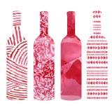 Reeks flessen van de Waterverfwijn royalty-vrije illustratie