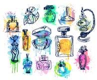 Reeks Flessen van het Parfum Inzameling van aroma's Stock Afbeeldingen