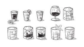 Reeks flessen voor alcohol vector illustratie