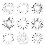 Reeks Fonkelingen en Uitbarstingen Minimaal ontwerp Geometrische Vormen, Licht Ray Collection Royalty-vrije Stock Foto's