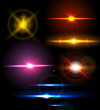 Reeks fonkelingslichten met transparantiegevolgen Inzameling van mooie heldere lensgloed Royalty-vrije Stock Afbeelding