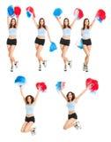 Reeks foto's met mooie cheerleader Stock Fotografie