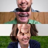 Reeks foto's van glimlachende mensen Man en vrouwenmond dichte omhooggaand royalty-vrije stock afbeelding