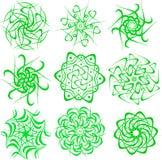 Reeks fractals en elementen van omwenteling en torsie in schaduwen van groene kleuren Stock Afbeelding