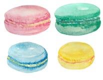 Reeks Franse makarons van de waterverf verschillende smaak stock illustratie