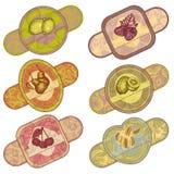 Reeks fruit en bessenetiketten Royalty-vrije Stock Foto