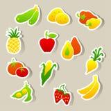 Reeks fruit en groentenstickers Stock Afbeelding