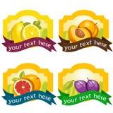 Reeks fruitetiketten Stock Fotografie