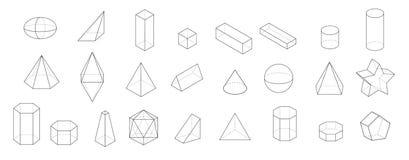 Reeks Fundamentele 3d geometrische vormen Geometrische vaste lichamenvector op een witte achtergrond Stock Foto