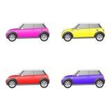 Reeks geïsoleerde auto's op witte achtergrond Royalty-vrije Stock Afbeeldingen