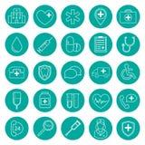 Reeks geïsoleerde cirkel moderne vector medische pictogrammen op witte bedelaars Royalty-vrije Stock Afbeelding