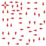 Reeks geïsoleerde dunne rode pijlen op witte achtergrond Stock Fotografie