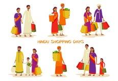 Reeks geïsoleerde families tijdens het winkelen bij winkel stock illustratie