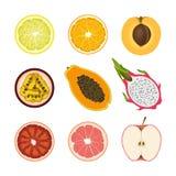 Reeks geïsoleerde gekleurde plakken van citroen, sinaasappel, abrikoos, passievrucht, papaja, draakfruit, roze grapefruit en rode royalty-vrije illustratie