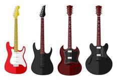 Reeks geïsoleerde gitaren Royalty-vrije Stock Afbeeldingen