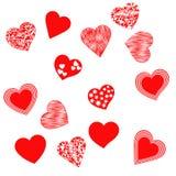 Reeks geïsoleerde harten op witte achtergrond Stock Foto