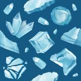 Reeks geïsoleerde ijskappensneeuwbanken en ijskegels Stock Foto's