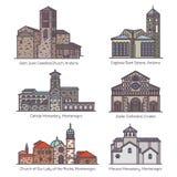 Reeks geïsoleerde kerken van Europa in kleur royalty-vrije illustratie